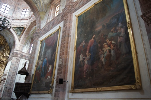 Two of the four huge murals in this very unique church.